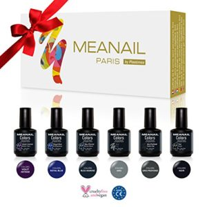 Coffret DECOUVERTE  Coffret 6 vernis  ongles Gel Semi Permanents Collection Sombre Meanail Paris Soak off nail polish Vegan and Cruelty Free Vernis Sombres 6 vernis 5ml 0 300x300 - vegan, bien-etre - ⚞ Coffret DECOUVERTE ⚟ Coffret 6 vernis à ongles Gel Semi Permanents - Collection Sombre Meanail Paris - Soak off nail polish - Vegan and Cruelty Free - Vernis Sombres - 6 vernis 5ml