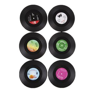 6Pcs/Set Sous-verre Porte-gobelet Rond Vintage CD Vinyle Tapis Arts de Table 7