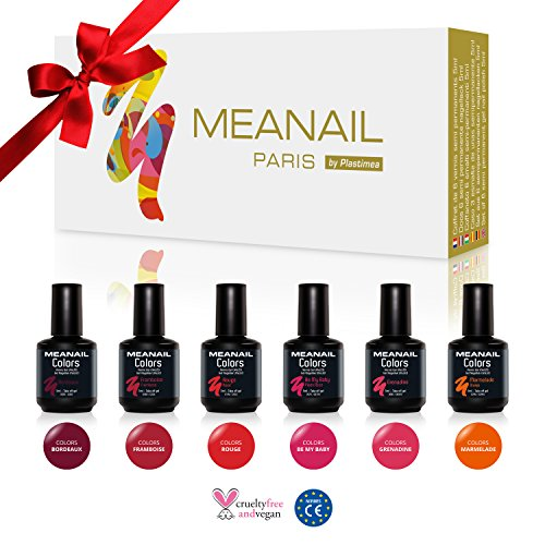 coffret 6 vernis ongles gel semi permanents 5ml rouge longue tenue nail art soak off. Black Bedroom Furniture Sets. Home Design Ideas