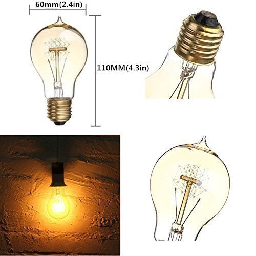 kingso e27 edison ampoules incandescence vintage lampe filament a19 40w 220v blanc chaud id al. Black Bedroom Furniture Sets. Home Design Ideas