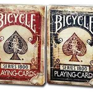 Cartes à jouer Bicycle 1800 Vintage Series 2 Deck Set Deck Ellusionist 1 rouge 1 bleu Bicycle 1800 Vintage Series Playing Cards 2 Deck Set by Ellusionist 1 Red 1 Blue deck 82