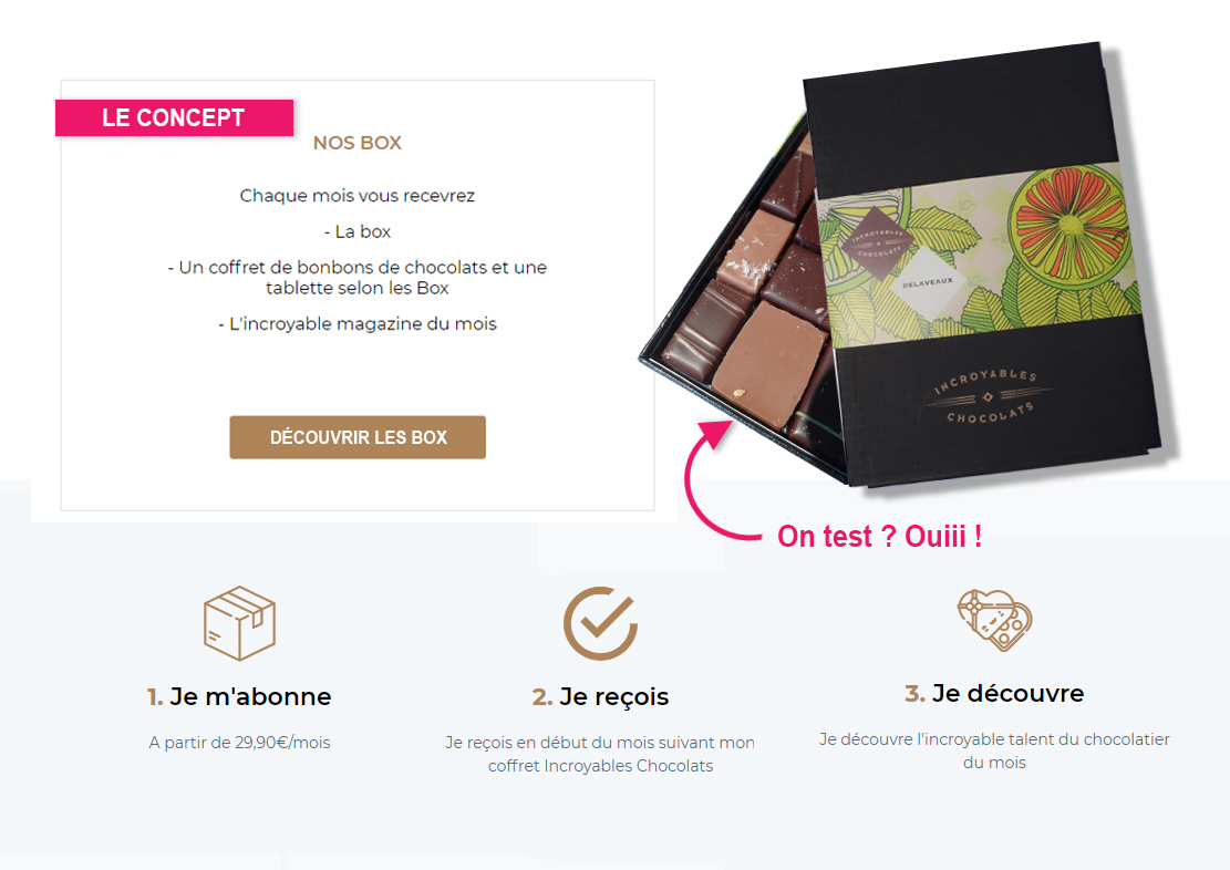 test chocolats - tests, passion, palais-sucre - On ouvre la box Incroyables Chocolats Delaveaux