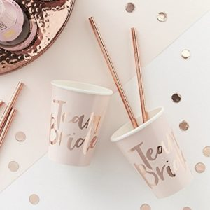 PINK AND ROSE GOLD FOILED TEAM BRIDE CUPS - TEAM BRIDE 18