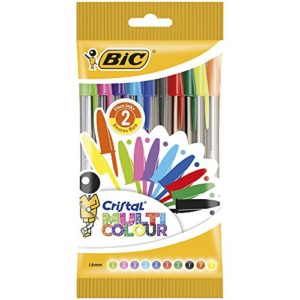 BIC Cristal Multicolour Stylos-Bille Pointe Large (1,6 mm) - Couleurs Assorties, Pochette de 10 79