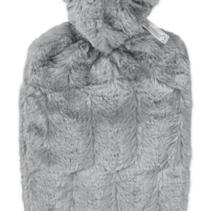 Hugo Frosch Unisex Classic Faux Fur Cover and Inner Lining Hot Water Bottle, Grey, One Size 6