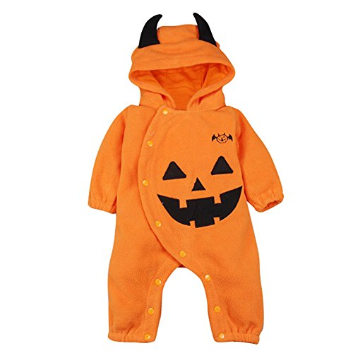 Le SSara Halloween citrouille Jumpsuit Hooded Nol barboteuse tenues 0 - halloween, famille - Le SSara HalloweencitrouilleJumpsuitHoodedNoëlbarboteusetenues