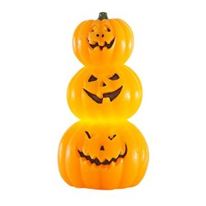 Lights4fun Trio de Citrouilles Halloween LED Lumineuses à Piles 7