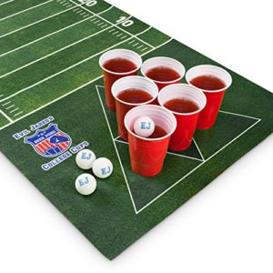 Natte pour Beer Game Evil Jared | Inclut 60 Gobelets Rouges + 6 Balles de Ping-Pong | Design Football Américain | Dimensions 180 x 60 cm 15