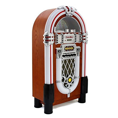 Retro Vintage Jukebox 1950s Rock Roll Style LED Lighting CD Player AMFM Radio SDMMC memory cards Bluetooth USB AUX 0 1 - vintage, lifestyle - Retro Vintage Jukebox 1950's Rock & Roll Style LED Lighting / CD Player, AM/FM Radio, SD/MMC memory cards, Bluetooth, USB, AUX