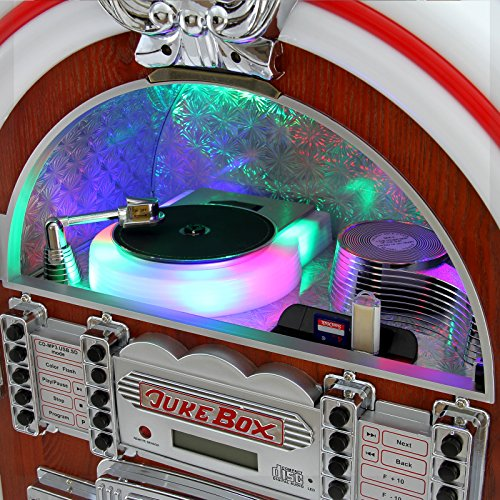 Retro Vintage Jukebox 1950s Rock Roll Style LED Lighting CD Player AMFM Radio SDMMC memory cards Bluetooth USB AUX 0 6 - vintage, lifestyle - Retro Vintage Jukebox 1950's Rock & Roll Style LED Lighting / CD Player, AM/FM Radio, SD/MMC memory cards, Bluetooth, USB, AUX