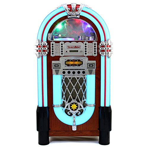 Retro Vintage Jukebox 1950s Rock Roll Style LED Lighting CD Player AMFM Radio SDMMC memory cards Bluetooth USB AUX 0 - vintage, lifestyle - Retro Vintage Jukebox 1950's Rock & Roll Style LED Lighting / CD Player, AM/FM Radio, SD/MMC memory cards, Bluetooth, USB, AUX