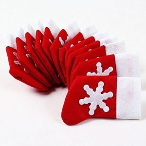 Topways® Couverts Dinner Party de Noël Décor de table ,Noël Décoration de table Chaussettes de Couverts de Noël Poches Holder 12 Pack 36