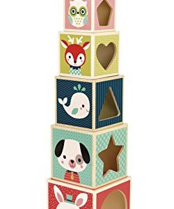 Janod - J08016 - Pyramide 6 Cubes Baby Forest 8