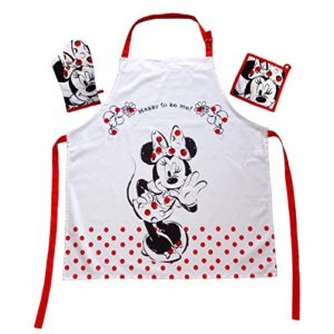 Le cadeau pour le Walt Disney Minnie Mouse Fan : tabliers de cuisine Set de Minnie Mouse Mini Minie Tablier 100% coton 65