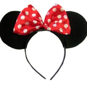 Rosa (Pink Minnie Mouse Alice Bnd) noir avec rose et blanc de point de polka d'arc de satin Minnie Mouse Disney bande de cheveux 26