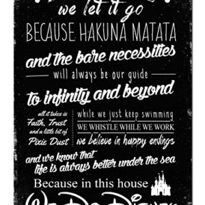 This House we do Disney V2 Noir plaque murale en métal Art mural inspirant D2B 17
