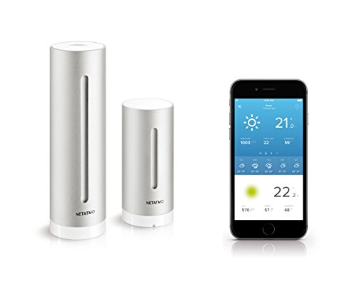 Netatmo Station Météo Intérieur Extérieur Connectée Wifi, Capteur Sans fil, Thermomètre, Hygromètre, Baromètre, Sonomètre, Qualité de l'air - Compatible Amazon Alexa et Apple Homekit, NWS01-EC 1