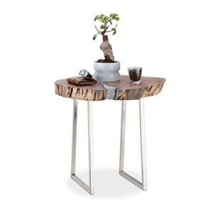 Relaxdays Table d'appoint plateau en bois d'Acacia socle aluminium argenté table basse design HxD : 56 x 60 cm, nature 16