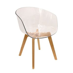 THE HOME DECO FACTORY Fauteuil Glossy, Bois + PP, Transparent, 36 x 51 x 76,8 cm 24