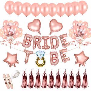 AivaToba Bride to BE Décorations Or Rose, Bride to BE Ballons,Ballons confettis pour Douche Nuptiale Bachelorette,Hen Party Decorations EVJF Ballons 27