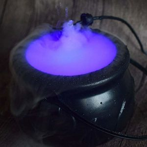 Carremark Halloween Cauldron Mister Mist Maker Smoke Fog Machine LED Chaudron sorcière Halloween Appareil à fumée Couleur Changeante Prop 70