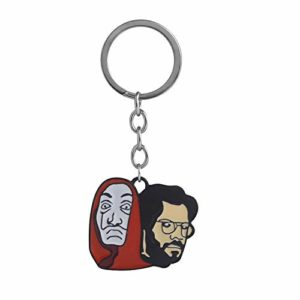 Keyring Spanish Heist Drama la casa de papel Money Heist Character Professor Cartoon Face Mask Pattern Pendant Keychain 15