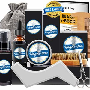 Kit Soins Barbe Hommes Complet Croissance,Entretien,Toilettage et Coupe -Shampoing Barbe,Huile Barbe,Baume Barbe,Brosse Barbe,Peigne Barbe,Ciseaux Barbe,Gabarit Barbe Coffret Idees Cadeau pour Homm 63