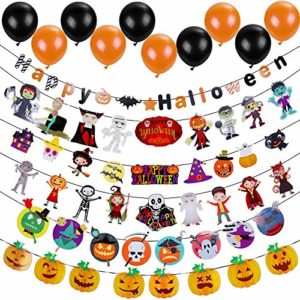 Lictin Halloween Party Decorations 6 Paquet Halloween Décoration de Banderole de Papier et 20 pcs Ballons Halloween Citrouille Bat fantôme Sorcière Araignée crâne Grimace 9