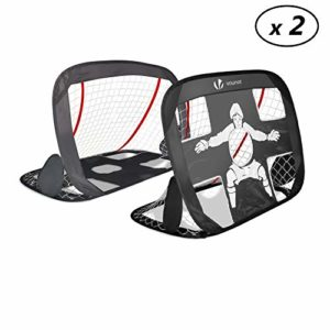 VOUNOT Cage de Foot Portable Lot de 2 pcs But de Football Pliable Cage de Football Pop UP Design 2 en 1 But d'entrainement Cage de Foot Normale avec Sac Rangement et Piquets 25