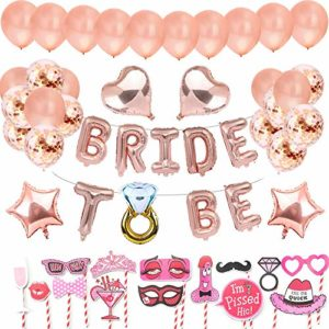 AivaToba Bride to BE Décorations Or Rose, Bride to BE Ballons,Ballons confettis pour Douche Nuptiale Bachelorette avec Accessoires de Cabine de Photo de Partie de Poule,Hen Party Decorations EVJF 17