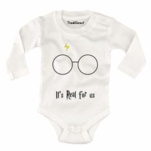 Body bébé Manches Longues Unisexe Enfant It'Is Real for Us Harry Potter - Gris 33