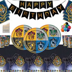 Harry Potter Party Supplies Assiettes en Papier Tasses Serviettes Nappe Joyeux Anniversaire Ballon-sans Ballon Pack-Sert 16 Personnes 1