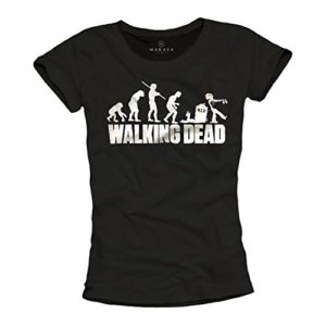 Makaya Walking Dead T-Shirt Femme Zombie Evolution Noir 23