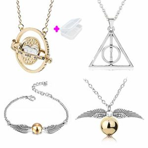 PPX 4 pcs Harry Potter Collier Set Time Turner La Mort Relique Golden Snitch Collier et Bracelets pour Harry Potter Fans Collection De Cadeaux ou Décorations Magique Cosplay Costume avec Boite 96
