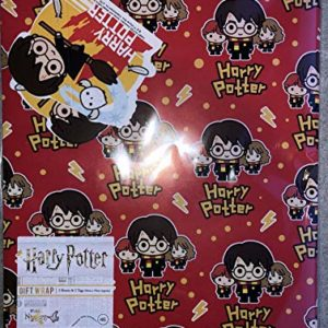 Papier cadeau Harry Potter – 2 feuilles et 2 étiquettes – officiel Harry Potter par Hallmark. 98