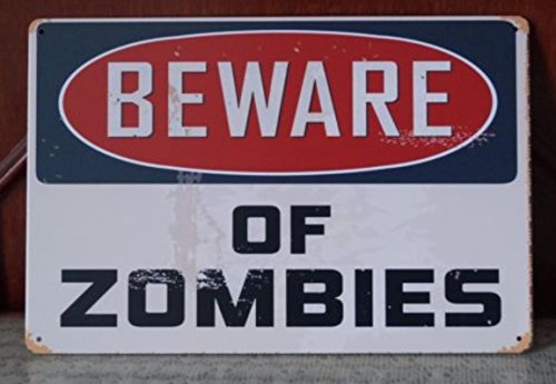 Beware Of Zomies Walking Dead Tin Sign Retro Poster Wall Plaque Home Gift Wall Decor 20x30cm by Tin Sign 1