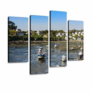 Impression sur Toile, View of Le conquet City, Fishing Boat at Low Tide on mud bretagnes Tableau Decoration Murale Photo Image Artistique Photographie Abstrait Art Peinture, 4 Parties 49