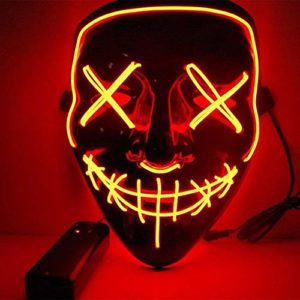 Kaliwa Masque LED Halloween, Masques La Purge élection en Lumière LED Masque pour Halloween Masque American Nightmare Festival Cosplay Costume Décorations de Fête, Alimenté par Batterie (Rouge) 28