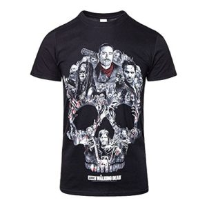 The Walking Dead Skull Montage T Shirt Imprimé Officiel Tête De Mort Zombie (Noir) 76
