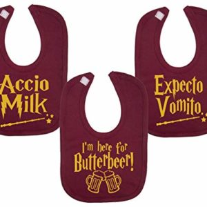 Wizard Inspired Food Bibs Novelty Gilet pour bébé Inscription Expecto Vomito Accio Milk Butterbeer Baby Gifts 10