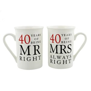 1st Anniversary Gift Paire de Tasses avec Coffret Cadeau 40 Ans d'être Mr Right et Mrs Always Right 6
