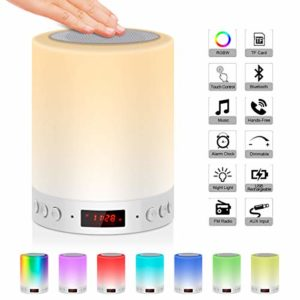 5 EN 1 Lampe de Chevet Tacile Rechargeable Portable,JOLVVN Lampe de Table Enceinte Bluetooth Musique USB FM Radio Réveil Numérique Lumière LED Multicolore Cadeau Hommes/Femmes/Enfants 6