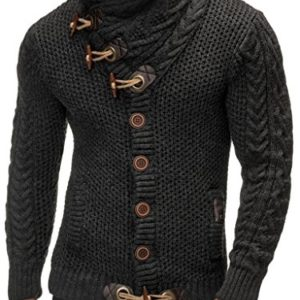 Leif Nelson Gilet Tricot col Large - Homme LN4195 2