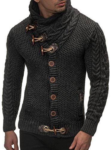 Leif Nelson Gilet Tricot col Large - Homme LN4195 1