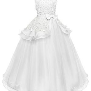 NNJXD Fille sans Manches Broderie Princesse Pageant Robes Enfants Bal Robe de Bal 7