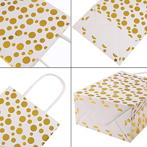 XNX 24 Pack Paper Gift Bags Party Favor Bags Recyclable Goodie Bags For Birthdays, Weddings, Baby Showers,Shopping.Gold Foil Stars Design, White(15 * 21 * 8cm) (Gold Foil Dot) … 2