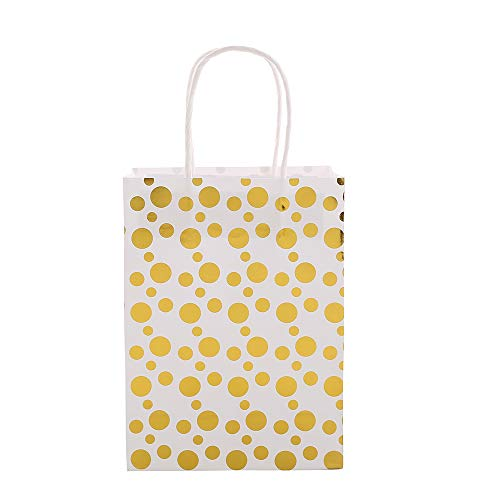 XNX 24 Pack Paper Gift Bags Party Favor Bags Recyclable Goodie Bags For Birthdays, Weddings, Baby Showers,Shopping.Gold Foil Stars Design, White(15 * 21 * 8cm) (Gold Foil Dot) … 3