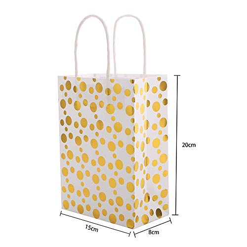 XNX 24 Pack Paper Gift Bags Party Favor Bags Recyclable Goodie Bags For Birthdays, Weddings, Baby Showers,Shopping.Gold Foil Stars Design, White(15 * 21 * 8cm) (Gold Foil Dot) … 4