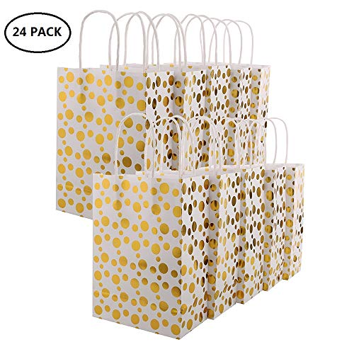 XNX 24 Pack Paper Gift Bags Party Favor Bags Recyclable Goodie Bags For Birthdays, Weddings, Baby Showers,Shopping.Gold Foil Stars Design, White(15 * 21 * 8cm) (Gold Foil Dot) … 1