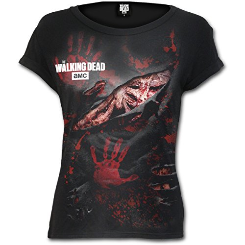 Spiral Direct The Walking Dead Blood Hand Prints Ripped Cap Sleeve T-Shirt 1